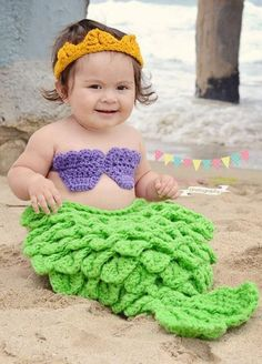 ► Little Mermaid - SO precious! #crochet #pattern #mermaid #baby ღ