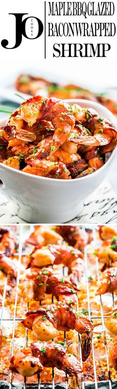 These maple BBQ glazed bacon wrapped shrimp will rock your world! Perfectly plump and juicy jumbo shrimp wrapped in bacon and glazed with maple syrup and BBQ sauce.