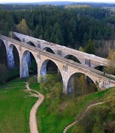 Old railway bridge in Stanczyki Poland. Built in the beginning of the 20th Century by Germans and  over 35 metres high.