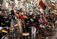 Fans cheer during San Francisco Giants' World Series Parade on Market Street in San Francisco. on Friday, October 31, 2014.