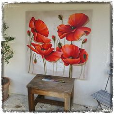 Coquelicot 1m² 0314                                                                                                                                                                                 Plus Sketch Painting, Watercolor Rose, Wall Art Pictures, Abstract Flowers, Red Flowers, Painting Inspiration, Flower Art, Canvas Wall Art, Diva Nails