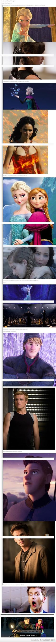 This is too funny and awesome not to pin lol. Especially with the mahogany reference xD. Did Disney use the hunger games as their reference. The Hunger Games, Hunger Games Trilogy, Hunger Games Fandom, Hunger Games Humor, Frozen Movie, Disney Frozen, I Movie, Frozen Games, Real Frozen