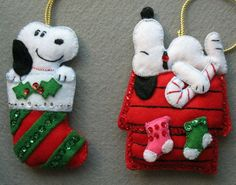 Vintage Handmade Snoopy Felt Jeweled Christmas Ornaments ~ Set of 4 - Ornaments