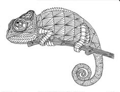 Chameleon Zentangle Coloring Page By InspirationbyVicki On Etsy