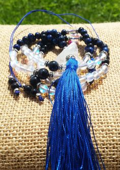 ON SALE 108 Mala Necklace African Blue Tiger Eye Aura Quartz Mala Tassel Zen Mala Long Bohemian Necklace Women's Necklace Boho Hippie Mala