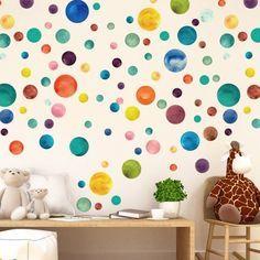 Kleine Regenbogen Aquarell Punkte Stoff Wandtattoo Farbe