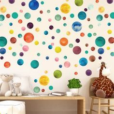 Watercolor Dots Wall Stickers Nursery Room Decor Rainbow Decal