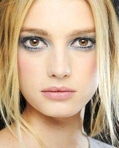 Blue-ish silver eye makeup at the Chanel fall/winter 2012 show