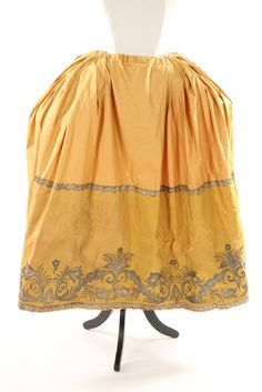 Lot 392 : An embroidered mustard silk petticoat border, circa worked in silver threads. Provenance: the late Harry Matthews. 18th Century Clothing, 18th Century Fashion, Fashion Design Classes, Rococo Fashion, Vintage Outfits, Vintage Fashion, 18th Century Costume, Vintage Corset, Textiles