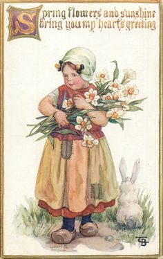 SPRING FLOWERS AND SUNSHINE BRING YOU MY HEARTS GREETING  girl carrying daffodils, rabbit sits - Art by C.M. Burd