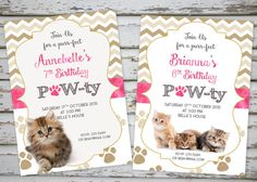 Kittens Birthday Invitation Cat Birthday by DebsPrintables on Etsy