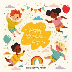 Floating children dream on children's day Vector Happy Children's Day, Happy Kids, Art Drawings For Kids, Art For Kids, Graphic Design Templates, Vector Design, Design Design, Pattern Design, Vintage Typography