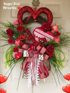 A festive Valentines wreath for your door. … – Valentine's Day Diy Valentines Day Wreath, Valentines Flowers, Valentines Day Decorations, Valentine Day Crafts, Happy Valentines Day, Valentine Ideas, Printable Valentine, Valentine Nails, Homemade Valentines