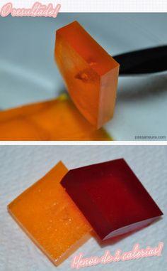 Receita de bala de gelatina light! Saiba como fazer uma bala que tem menos de 2 calorias cada uma. Passo a passo da receita em fotos.