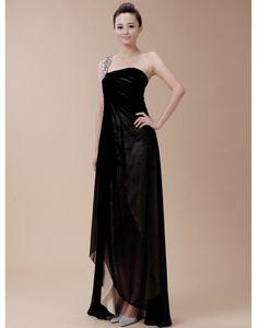 Chiffon One Shoulder Black A-line Prom / Evening Dress