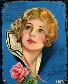 Earl Christy Sailor Beauty Pin-Up Print Blonde Bow Lipped Flapper Fine NR Pinup Art, Mode Vintage, Vintage Girls, Vintage Magazines, Vintage Postcards, Vintage Prints, Vintage Art, Vintage Flash, Vintage Glamour