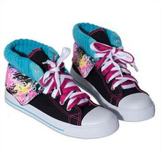 Kick back in too-cool style with a funky little treat for your fashion-forward feet! These black hi top sneakers have got loads of color - with a double. Little Miss Matched, Sporty Style, Tween, Baby Love, Fashion Forward, High Top Sneakers, Cool Style, Stylish, Shoes