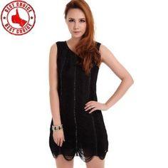 Black fringe stripe rhinestone dress