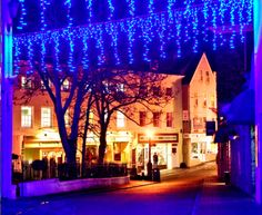 Festive Christmas lights in Le Pollet, Guernsey