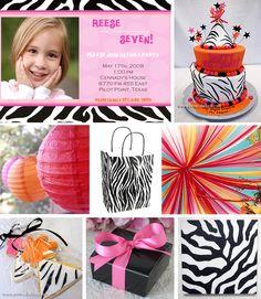 pink, orange and zebra print party
