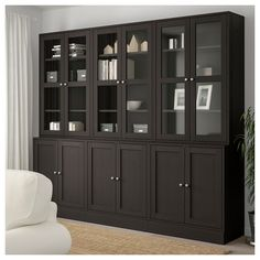 "HAVSTA Storage combination w/glass doors, dark brown - 95 "" - IKEA Glass Shelves In Bathroom, Glass Cabinet Doors, Sliding Glass Door, Glass Doors, Scandinavian Furniture, Scandinavian Design, Muebles Living, Tempered Glass Shelves, Home Office Decor"