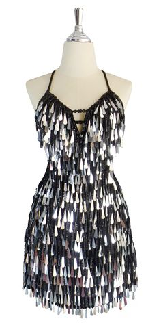 7e051458954a Short handmade sequin dress, with tear-drop shaped metallic silver  paillette sequins, black faceted beads