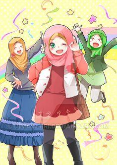 KKPK alika by dinigaleri on DeviantArt Doremon Cartoon, Hijab Cartoon, Friend Anime, Anime Best Friends, Bff Drawings, Cartoon Drawings, Anime Neko, Kawaii Anime, Muslim Images