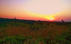 spettacolare tramonto ricco di colori luminescenti, nella campagna toscana