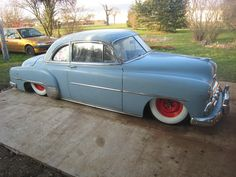"""Baby blue 49"""" Chevy Sport Coupe on custom lowered suspension"""