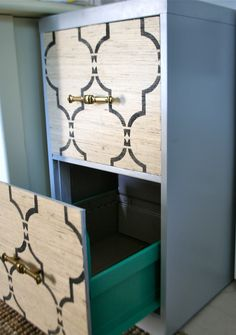 DIY File Cabinet Re-do- do this on my ugly black file cabinet and reuse!