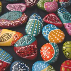Painted beach pebbles magnets set of 3 by ZamzamCreations on Etsy
