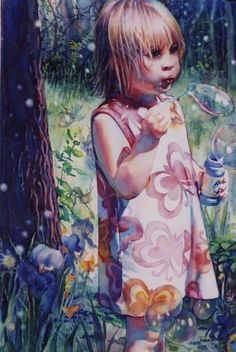 "By Jeannie Vodden. Pinned from jeannievodden.com. I would title this ""Blowing Bubbles."""