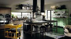 Una cucina Scavolini dall'animo Rock, ideata con l'obiettivo di creare un prodotto giovane, dinamico e moderno in stile industriale.