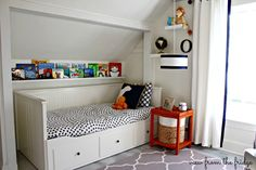 An awesome Shared Boys' Bedroom Makeover from View From The Fridge