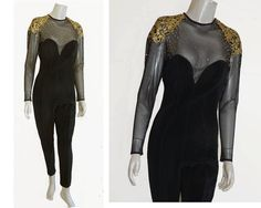 Tadashi Bodycon Catsuit Jumpsuit Black Gold by Griffengarb on Etsy