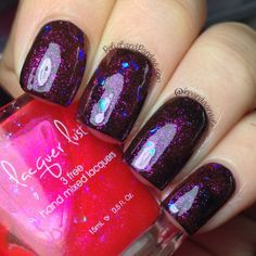 "Lacquer Lust ""Red Light Special"" over black http://www.polishandpandas.com/2014/02/lacquer-lust-swatches-review.html#more"