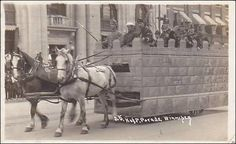RP: K.of P. Parade, Horse Drawn castle float with soldiers, Winnipeg, Manitoba, Canada , PU-1914 Item# SCVIEW100422 (123074482)