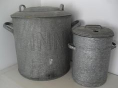 Vintage German Galvanized bins.