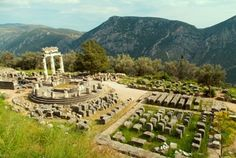 The ruins of the Tholos temple in the sanctuary of Athena Prona, in Delphi.