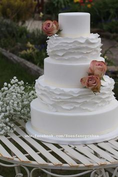 Simple elegant frills wedding Cake - Cake by Zoe's Fancy Cakes