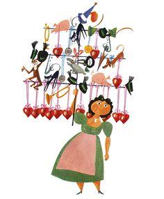 Saleswoman at the Oktoberfest – illustration by Miroslav Sasek. Read more in MILAN Magazine: http://www.milan-magazine.de/oktoberfest-sasek-muenchen/  #MiroslavSasek #books #childrensbook #kinderbuch #bilderbuch #KunstmannVerlag #illustration #oktoberfest #wiesn #bavarianstyle #dirndl #tracht #traditionalcostume #herzerl #aufgehts #munich #münchen #minga #bavaria
