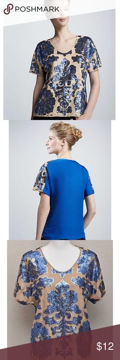 Neiman Marcus for 🎯 Blue/Tan Sequin Blouse Eye catching blouse by Neiman Marcus/Target (Tracy Reese). Tan front with beautiful gold and blue sequin design. Blue back. 100% polyester, size small. Neiman Marcus Tops Blouses