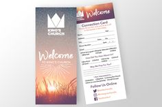 Church Connection Card Templates PSD template for the front and back of a church connection card. Designed to fit a GotPrint postcard by Team Alabaster Invitation Design, Invitation Cards, Invites, Id Card Design, Design Art, Church Graphic Design, Church Ministry, Youth Ministry, Welcome Card