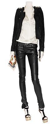 BALMAIN  Black Cropped Suede Jacket with Belt
