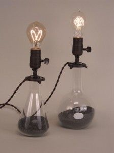 These simple flask lamps (or you could repurpose laboratory beakers) a lamp kit, led bulb, or vintage reproduction bulb if you prefer, to use less energy and any lamp shade (hopefully repurposed as well) would make a stunning impact on almost any décor, while being eco-friendly and inexpensive too.