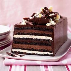Chocolate Truffle Layer Cake from Food & Wine magazine. chocolate cake with layers of white chocolate and milk chocolate ganache with chocolate frosting recipes chocolate Milk Chocolate Ganache, Chocolate Truffles, Chocolate Desserts, White Chocolate, Cake Chocolate, Chocolate Covered, Chocolate Layer Dessert, French Chocolate, Chocolate Espresso