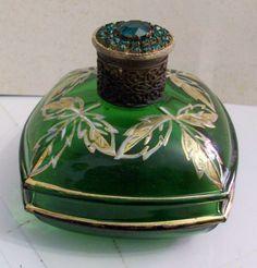 Old Perfume Green Glass Bottle w Crystal Ringstones Very Old | eBay
