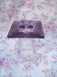 Vintage 1950's Amethyst Glass Candlestick Holder Purple Sheen Heavy Block Optic Glass  Atomic Age Retro Lavender Cottage Chic Mid Century by VintageChicPleasures on Etsy