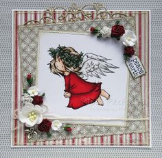 Christmas angel in traditional red and green (image from LOTV) Christmas Cards To Make, Christmas Angels, Xmas Cards, Christmas Crafts, Christmas Ideas, Angel Flying, Card Making Tips, Angel Cards, Peace On Earth