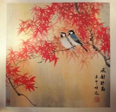 """http://maimaiwenhua.com/tienda/arbol-rojo-arte-chino  New: Traditional Chinese Watercolor Painting, """"Birds on the red tree""""   Handmade using traditional techniques. Painted on rice paper and mounted on silk bracket. Unique, Stamped. High quality. Buy genuine, high quality traditional chinese artworks at our online store:   www.maimaiwenhua.com/tienda"""